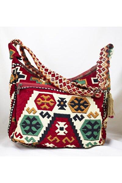 Vintage Kilim Desenli Bordo Renk Tek Cep Anne Çanta