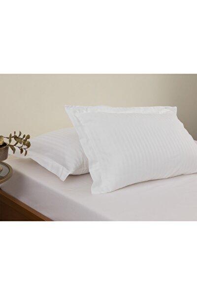 Crystal Ipeksi Twill 2'li Kulaklı Yastık Kılıfı 50x70 Cm Beyaz