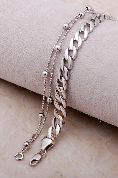 Kombin Gurmet Zincir Dorissa Gümüş Bileklik 3481