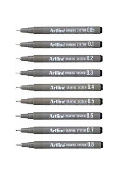 Drawing System Teknik Çizim Kalemi 9'li Tam Set Art-st2