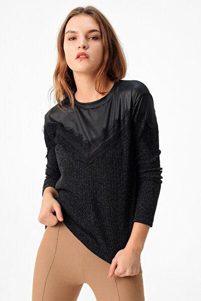Deri Ve Dantel Detaylı Triko Bluz-siyah
