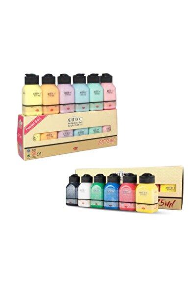 6 Pastel 6 Canlı Renk Akrilik Boya 12*75 ml Set