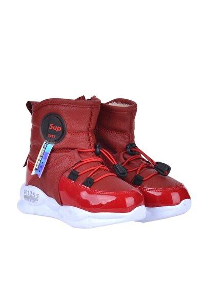 7580 Kırmızı Termal Kürklü Kız Çocuk Kışlık Bot Ayakkabı