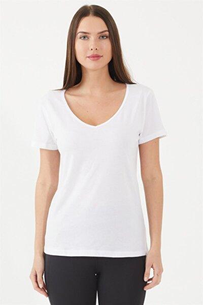 Beyaz Basic V Yaka T-shirt