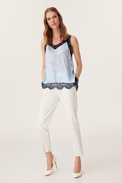 Kadın Dantel Şeritli Bluz - Mavi