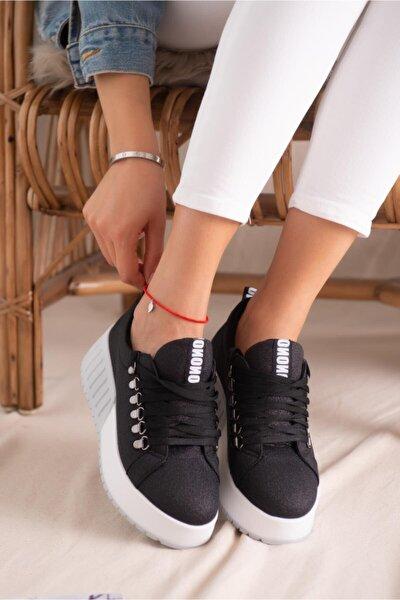 Sage Siyah Simli Bağcıklı Yüksek Tabanlı Casual Sneakers