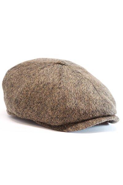 Erkek Kahverengi Kaşmir Ingiliz Model Kasket Şapka