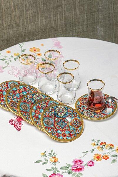 Dekorlu 12 Parça Çay Bardağı Takımı Seti