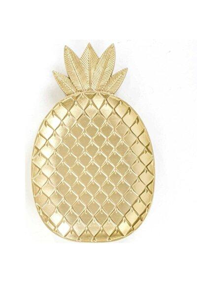 Ananas Şekilli Gold Altın Rengi Plastik Kase Ve Çerezlik 6'lı Set