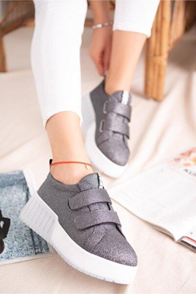 Julia Platin Simli Çift Bantlı Yüksek Tabanlı Sneakers