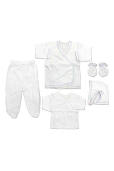Mavi Kenarlı Sade Bebek 5 Li Hastane Çıkışı Seti K2274