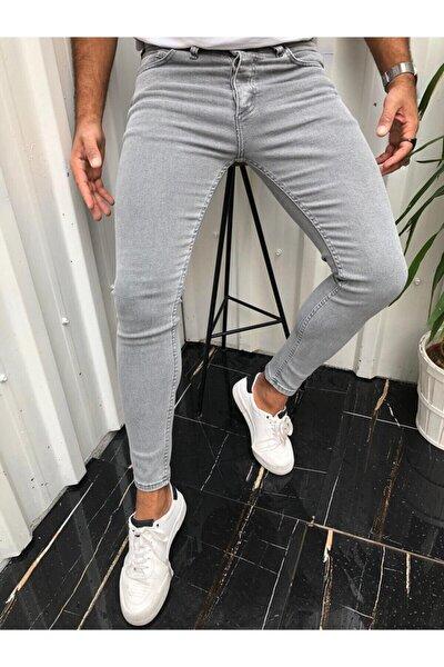 Erkek Düz Gri İtalyan Kesim  Kot Pantolon