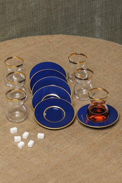12 Parça Çay Bardağı Takımı Seti Mavi