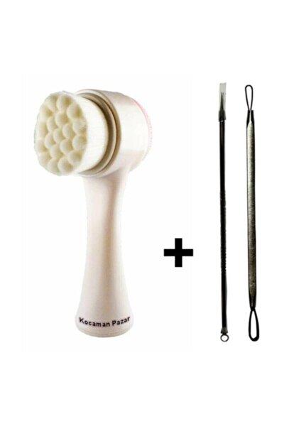 Kocamanpazar Çift Taraflı Cilt Ve Yüz Temizleme Fırçası + Akne Temizleme Komedon