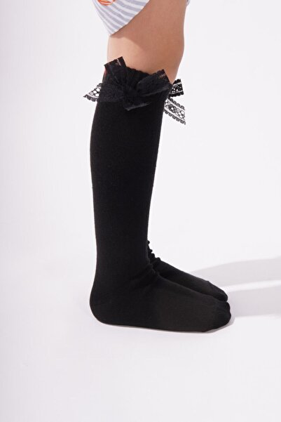 Family Dizaltı Kurdeleli Çocuk Basic Çorap - Siyah
