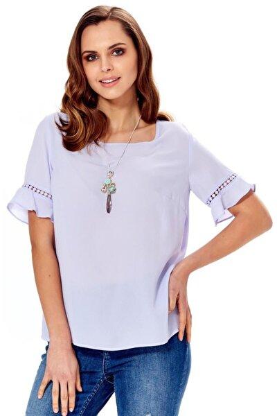 Kadın Koyu Lila Kolları Volanlı Dantel Garnili Bluz 018-4012