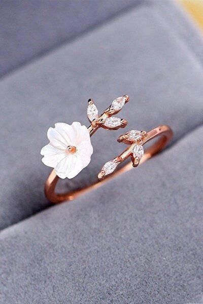 Kadın Beyaz  14k Rose Altın Kaplama Manolya Çiçeği Ayarlanabilir Yüzük