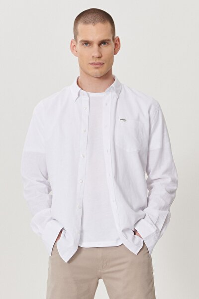 Erkek Beyaz Regular Fit Uzun Kol Gömlek