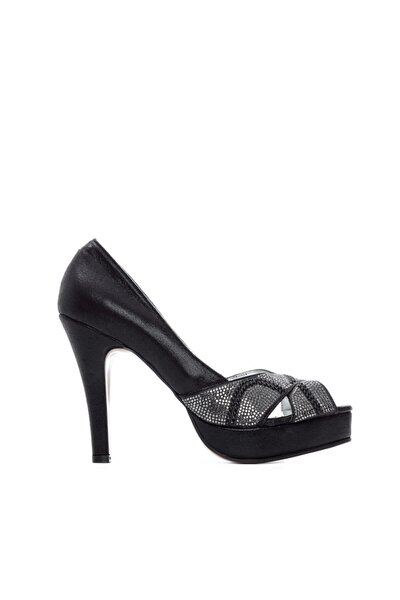 Kadın Siyah Vegan Topuklu  Stiletto Ayakkabı 592 2310 Bn Ayk