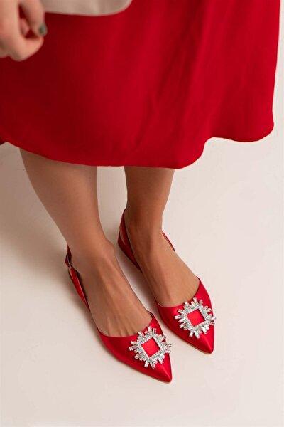Saten Şeffaf Burun Taş Detay Sandalet