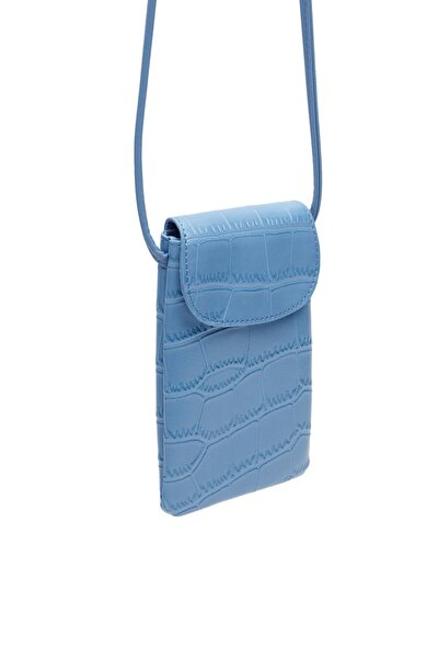 Kadın Mavi Timsah Desenli Uzun Askılı Cep Telefonu Çantası