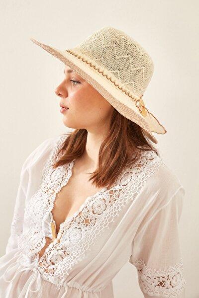 Kadın Merserize Şapka T1740-05 Açık Bej