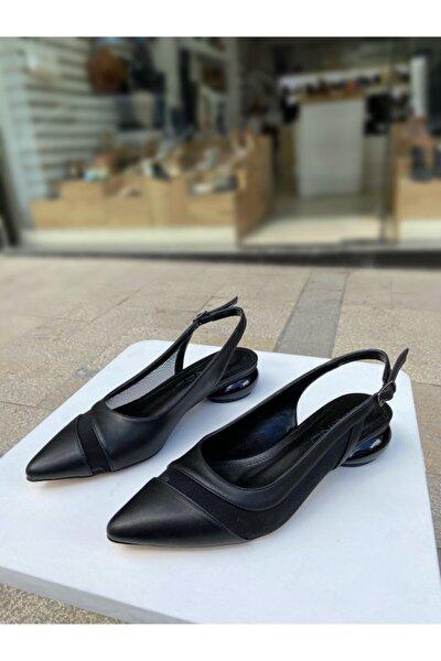 Siyah Cilt Tasarım Topuk Arkası Açık File Detaylı