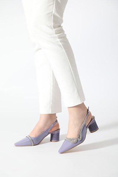 Kadın Lila Taşlı Arka Açık Abiye Ayakkabı