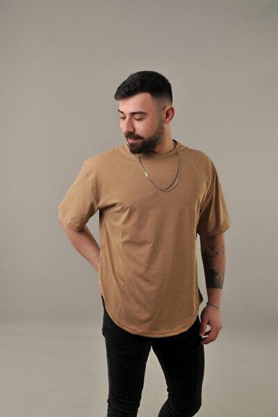 Krem Erkek Oval Kesim Oversize T-shirt