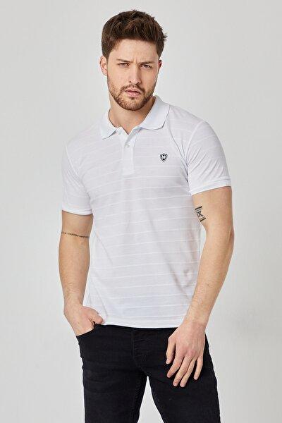 Erkek Beyaz Polo Yaka Tişört Slim Fit Kısa Kollu Çizgi Desenli T-shirt