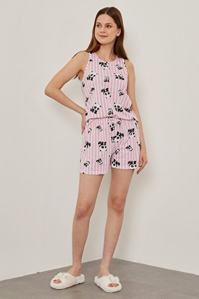 Kadın Pembe Baskılı Pijama Takımı