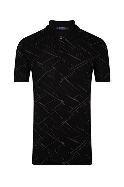 Erkek Siyah Slim Fit Desenli Polo Yaka Tişört
