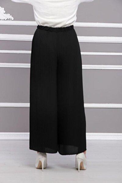Kadın Piliseli Siyah Etek Pantolon