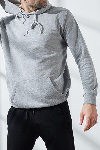 Erkek Gri Jordan Baskılı Kapüşonlu Sweatshirt