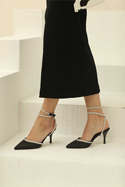 Eppie Kadın Topuklu Ayakkabı Siyah Saten