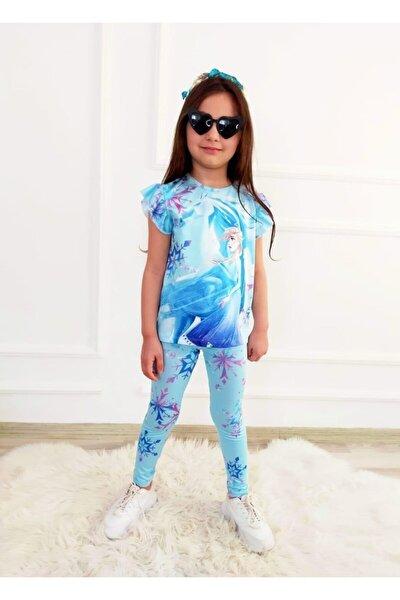 Kız Çocuk Mavi Dijital Baskılı Elsa Taytlı Takım