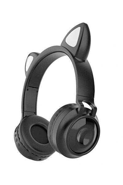 Siyah Kart Girişli Radyolu Kedi Bluetooth Kulaklık Yüksek Ses Akıllı Led Işıklı Kulaklık 12 SaatŞarz