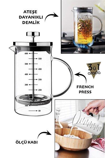 Bir Arada Borosilikat French Press 600 ml 3'ü