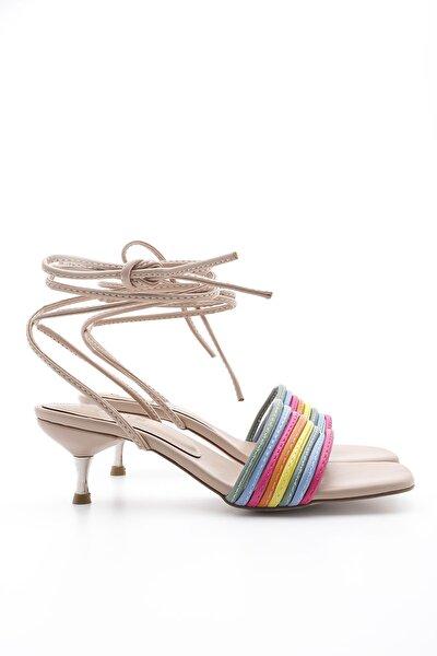 Kadın Bej İpli Topuklu Sandalet Rafode