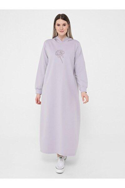 Büyük Beden Çiçek Baskılı Örme Spor Elbise - Lila -