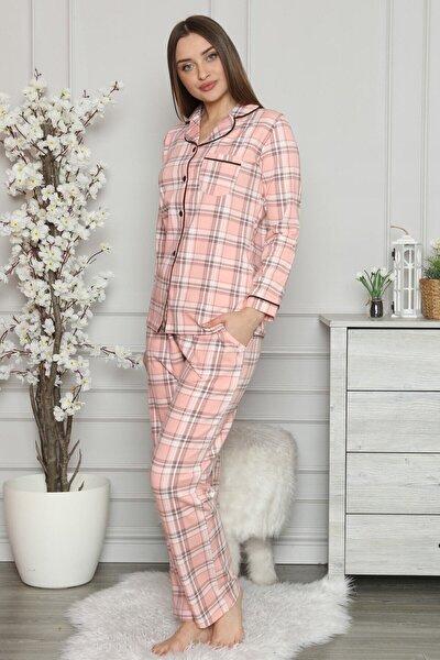 Kadın Somon Renk Ekoseli Önden Düğmeli Cepli Pijama Takımı 2560uk