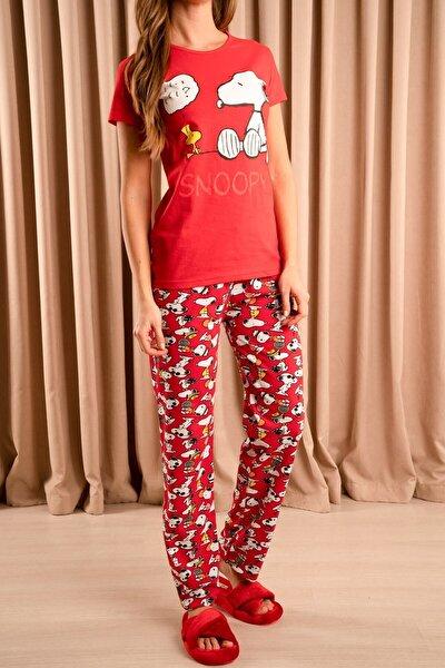 Snoopy Baskılı Pijama Takımı Kırmızı