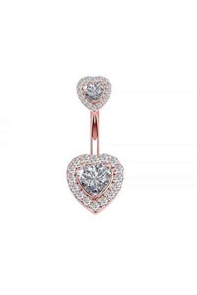 Kadın Rose Çift Kalp Taşlı Komple Taşlı Göbek Piercing Eg58rs