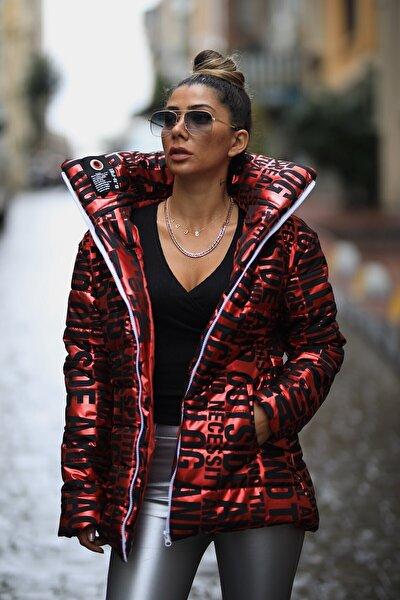Kadın Kırmızı Dik Yaka Uzun Parlak Şişme Mont