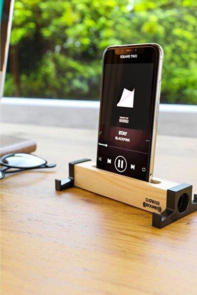 Ahşap Akustik Telefon & Tablet Standı. Ses Artırma Ve Sese Akustik Katma