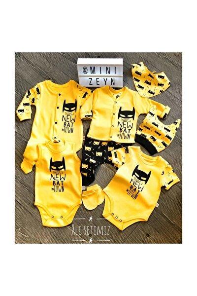 Erkek Bebek Sarı  Batman 8 Parça Hastane Çıkışı %100 Pamuk