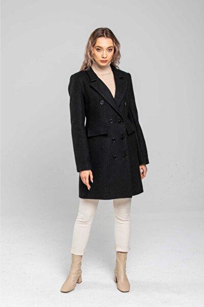 Kadın Dar Kesim Siyah Uzun Kaşe Kaban Bm0029