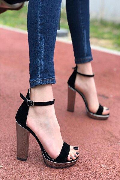 Kadın Siyah  Pulet Topuklu Ayakkabı