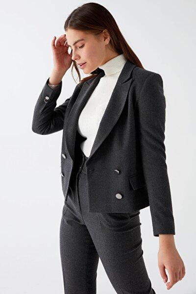 Kadın Gri Kruvaze Crop Ceket