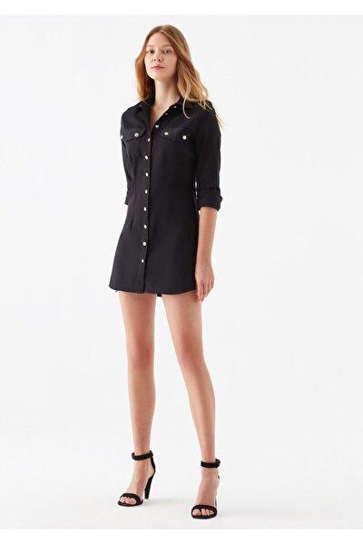 Kadın Siyah Cepli Gömlek Elbise